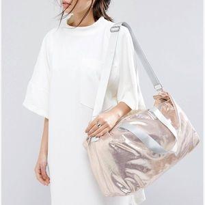 Handbags - Rose gold iridescent slouchy shoulder tote bag